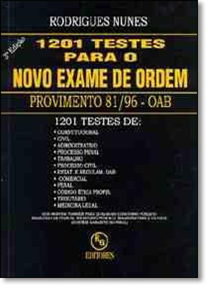1201 Testes Para o Novo Exame de Ordem, livro de Rodrigues Nunes