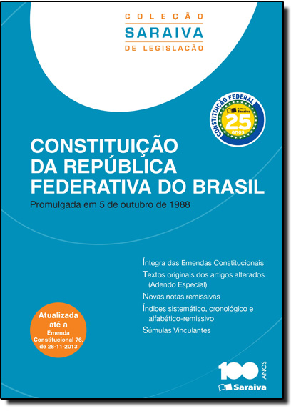 Constituição da República Federativa do Brasil, livro de Editora Saraiva