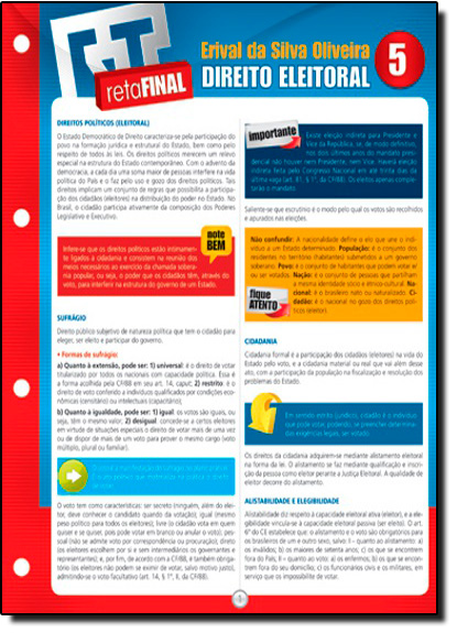 Direito Eleitoral 5 - Reta Final, livro de Regina Quaresma