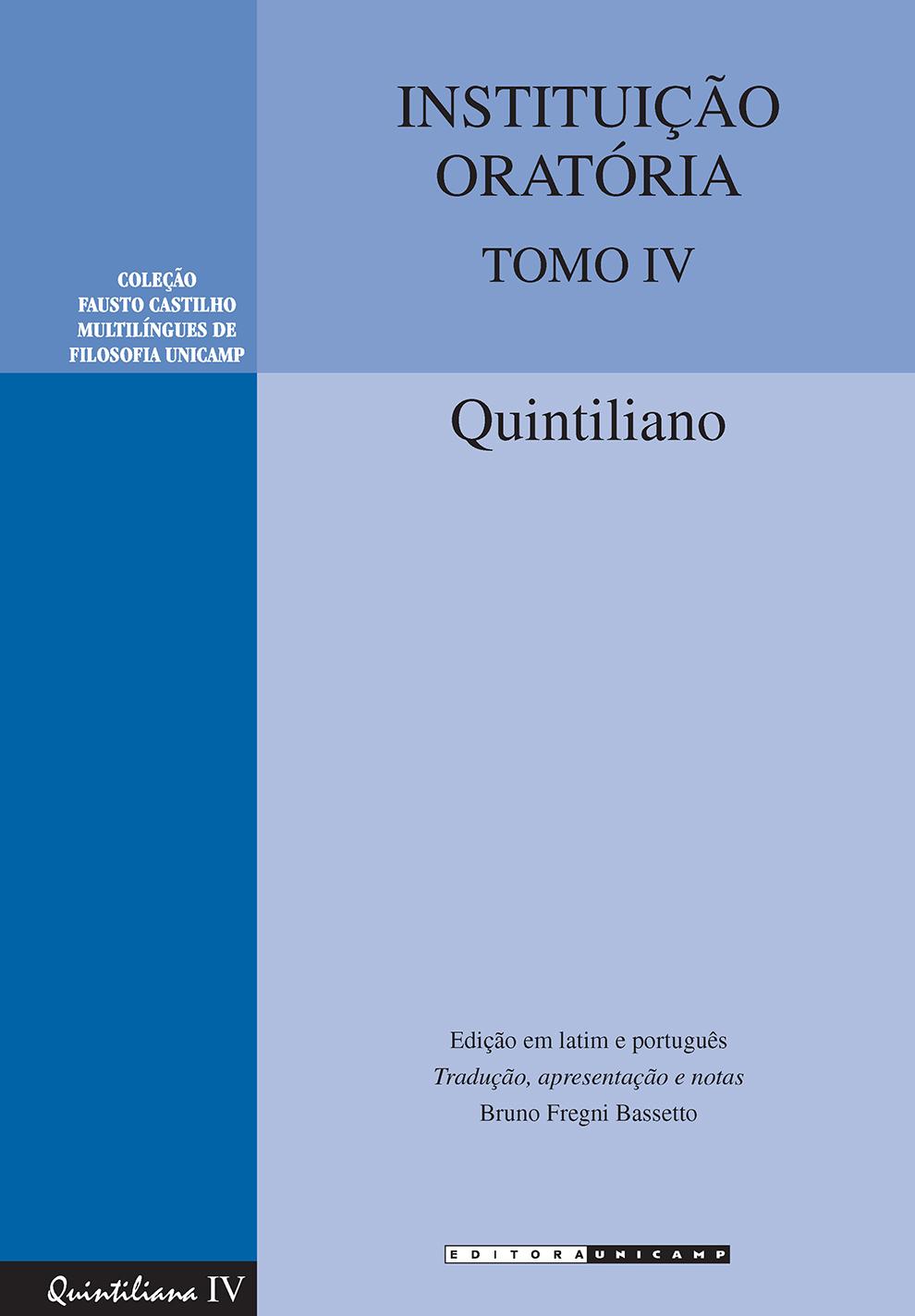 Instituição oratória - Tomo IV, livro de Quintiliano