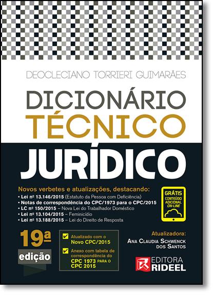 Dicionário Técnico Jurídico, livro de Deocleciano Torrieri Guimarães