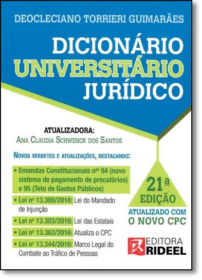 Dicionário Universitário Jurídico, livro de Deocleciano Torrieri Guimarães