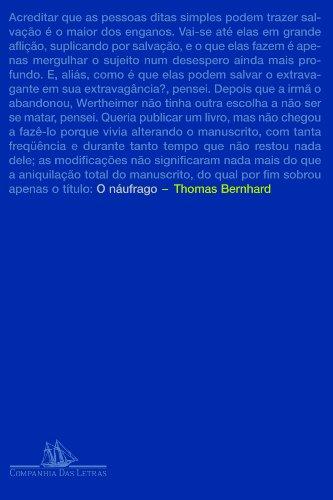 O NÁUFRAGO, livro de Thomas Bernhard