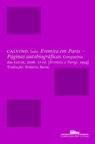 Eremita em Paris - Páginas autobiográficas, livro de Italo Calvino