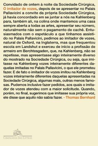 O IMITADOR DE VOZES, livro de Thomas Bernhard