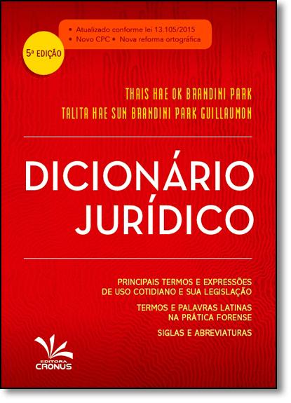 Dicionário Jurídico, livro de Thais Hae Ok Brandini Park