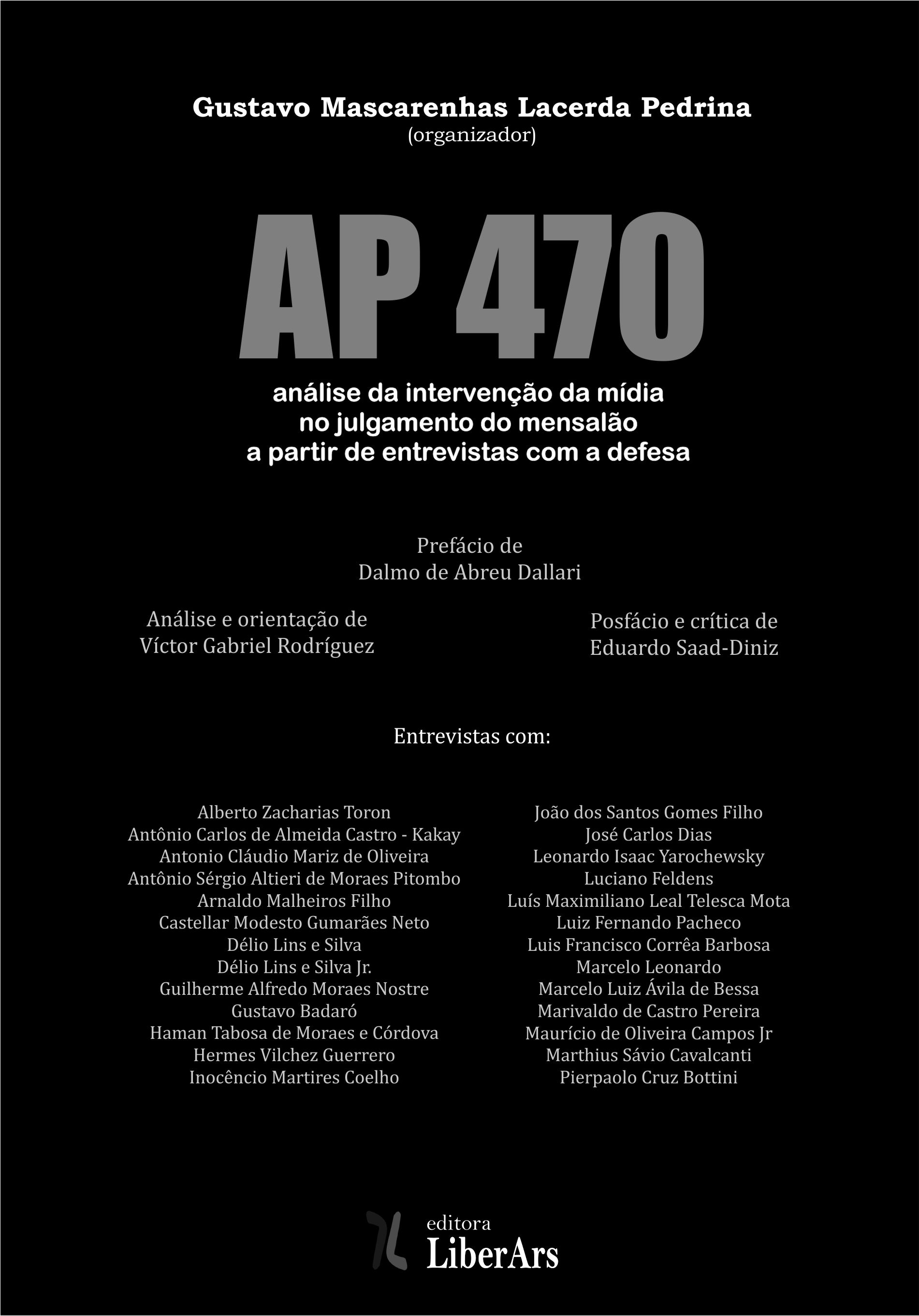 AP 470: análise da intervenção da mídia no julgamento do mensalão, livro de Gustavo Mascarenhas Lacerda Pedrina