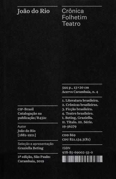 Crônica, Folhetim, Teatro - Coleção Acervo, livro de  João do Rio