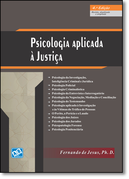 Psicologia Aplicada À Justiça, livro de Fernando de Jesus, Ph. D.