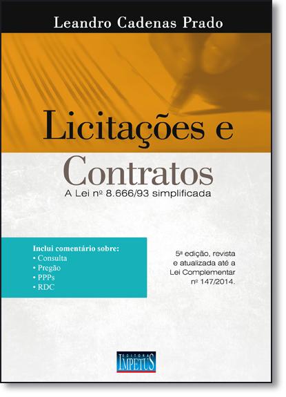 Licitações e Contratos, livro de Leandro Cadenas Prado