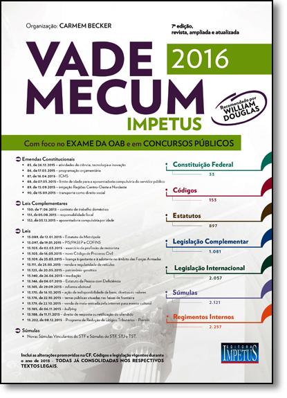 Vade Mecum Impetus Para Oab e Concursos 2016, livro de Carmem Becker