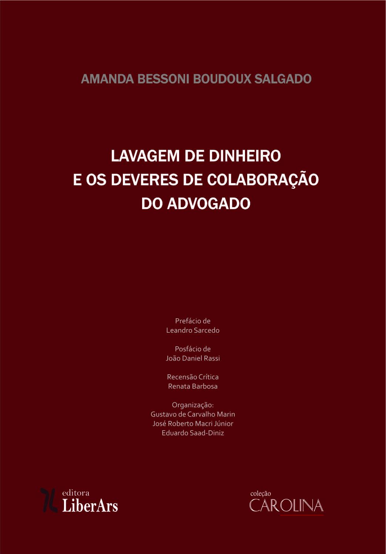 Lavagem de dinheiro e deveres de colaboração do advogado, livro de Amanda Bessoni Boudoux Salgado