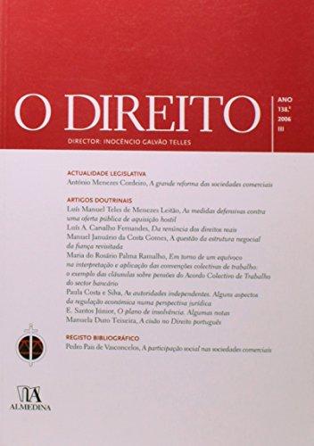 O Direito - Ano 138.º, 2006 - III, livro de Director: Inocêncio Galvão Telles