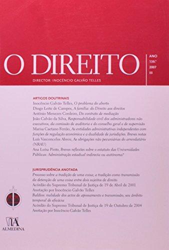 O Direito - Ano 139.º, 2007 - III, livro de Director: Inocêncio Galvão Telles