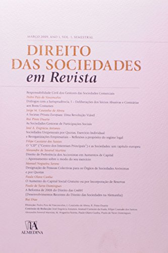 Direito das Sociedades em Revista - Ano 1 (Março 2009) Volume 1, livro de Direção: Rui Pinto Duarte, Jorge Manuel Coutinho de Abreu, Pedro Pais de Vasconcelos