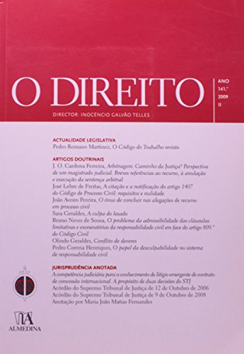 O Direito - Ano 141.º, 2009 - II, livro de Director: Inocêncio Galvão Telles