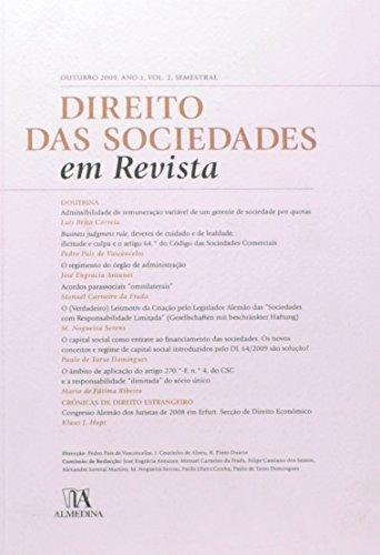 Direito das Sociedades em Revista - Ano 1 (Outubro 2009) Volume 2, livro de Direção: Rui Pinto Duarte, Jorge Manuel Coutinho de Abreu, Pedro Pais de Vasconcelos